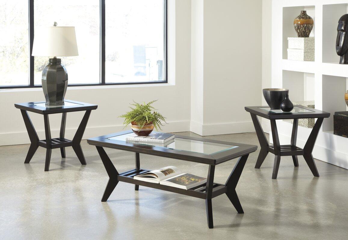 latitude run woodrow  piece coffee table set in brown  reviews  -  coffee table sets sku latt defaultname