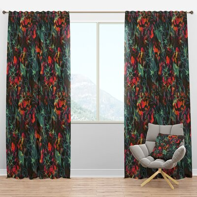Superimposed Blend Of Herbs Leaves And Berries Floral Semi Sheer Thermal Rod Pocket Curtain Panels Design Art Size Per Panel 52 W X 63 L Sportspyder