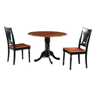Shorewood 3 Piece Drop Leaf Solid Wood Dining Set August Grove