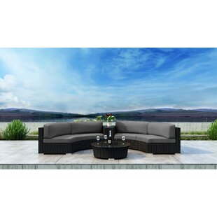 Everly Quinn Glendale 4 Piece Sectional Set with Sunbrella Cushion