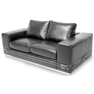 Mia Bella Ciras Leather Loveseat by Micha..