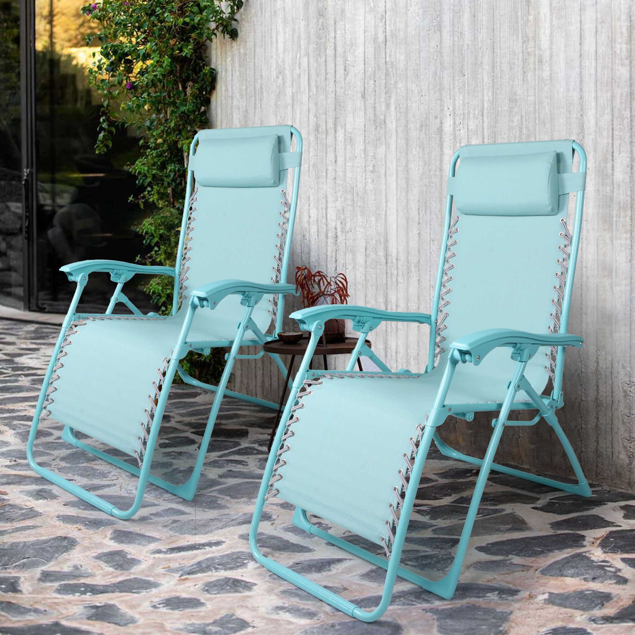 Set Of 11 Sun Chairs Portable Folding Breathable Garden Beach Zero Gravity  Chairs Lounger Chair Steel Pipe With Headrest For Adult-Blue
