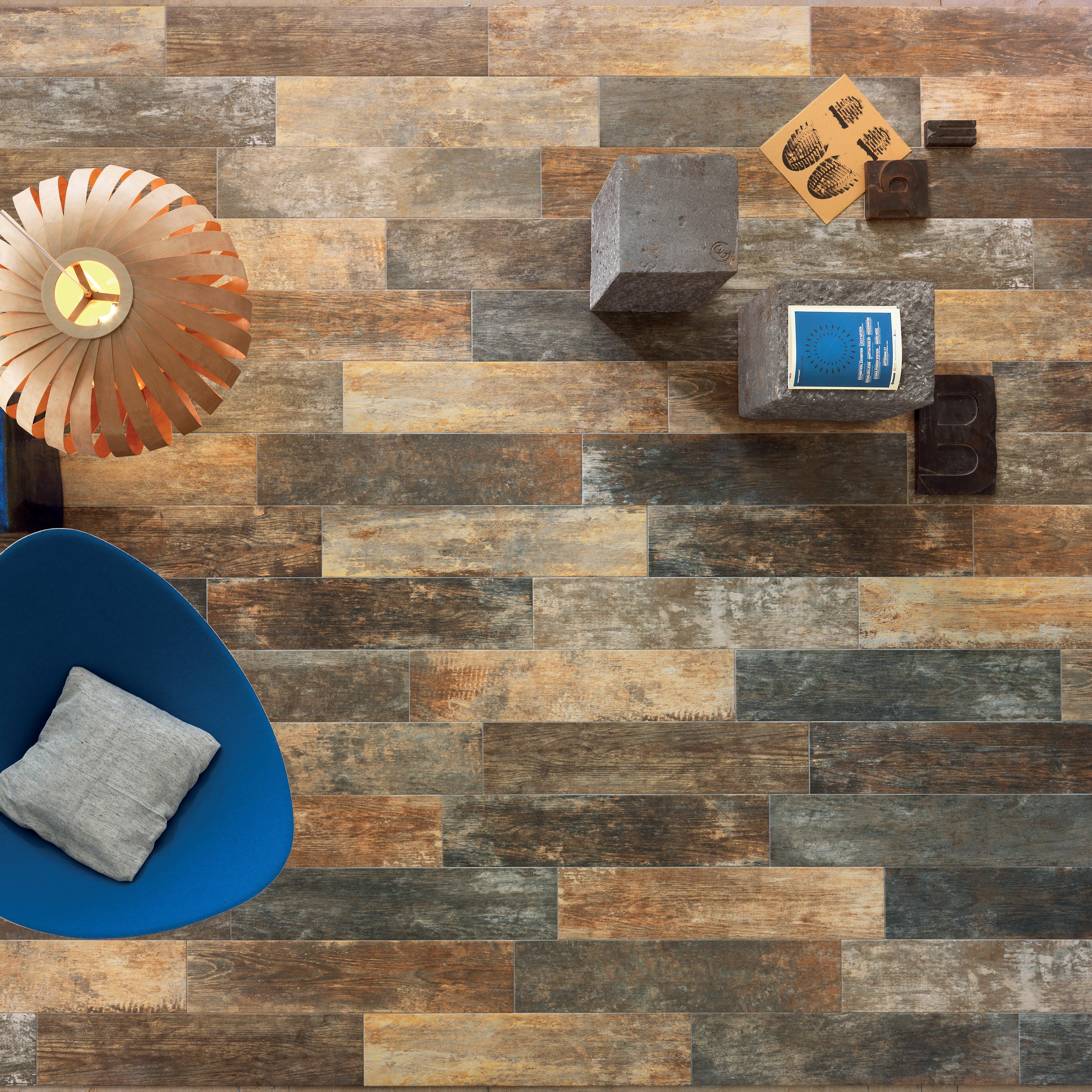 "Lea Ceramiche Fence 8"" x 36"" Porcelain Wood Look Field Tile in"