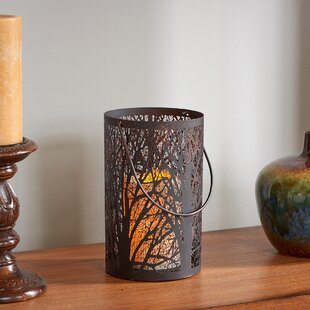 Smart Living Arboretum Lantern with Tree Pattern and LED Candle