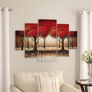 Parade of Red Trees by Rio - 5 Piece Wrapped Canvas Painting Print Set