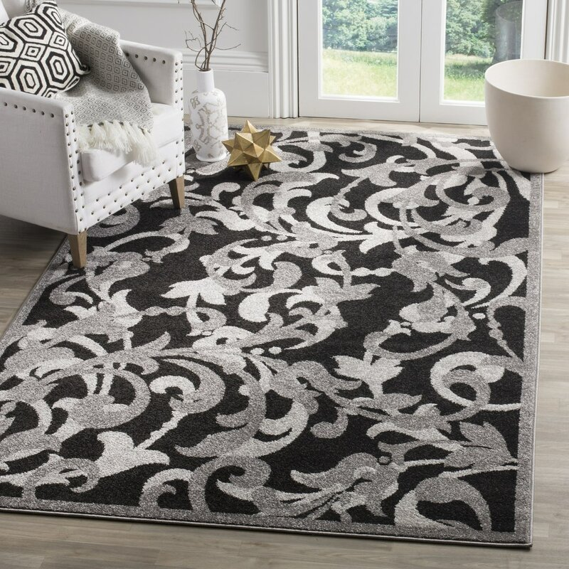 Charlton Home Neil Anthracite/Light Gray Indoor/Outdoor Area Rug ...