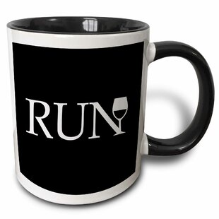 Run for Wine Typography Word with Wine Glass Runner Fun Running Club Race Racing Marathon Coffee Mug