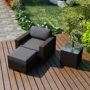 Hodge 3 Piece Teak Conversation Set with Sunbrella Cushions