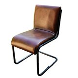 Essex Street Leather Dining Chair in Brown by 17 Stories