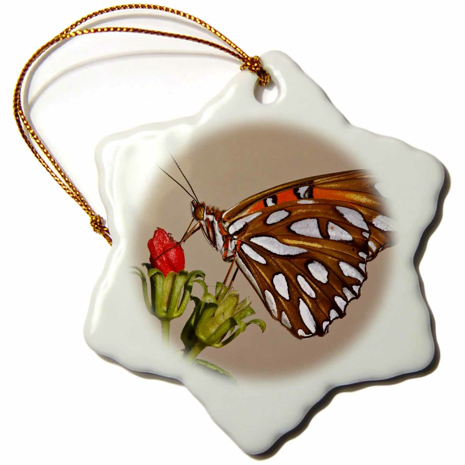 The Holiday Aisle Gulf Fritillary Butterfly Nectaring On Wild Flowers Snowflake Holiday Shaped Ornament Wayfair