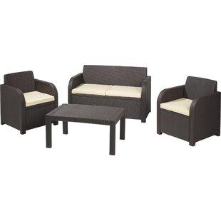 SunTime Outdoor Living Oklahoma 4 Piece Rattan Sofa Set with Cushions