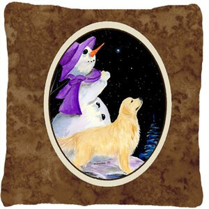 Snowman with Golden Retriever Indoor/Outdoor Throw Pillow