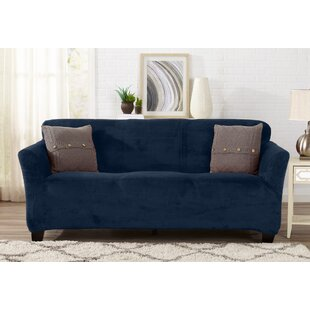 Symple Stuff Velvet Plush Form Fit T-Cushion Sofa Slipcover