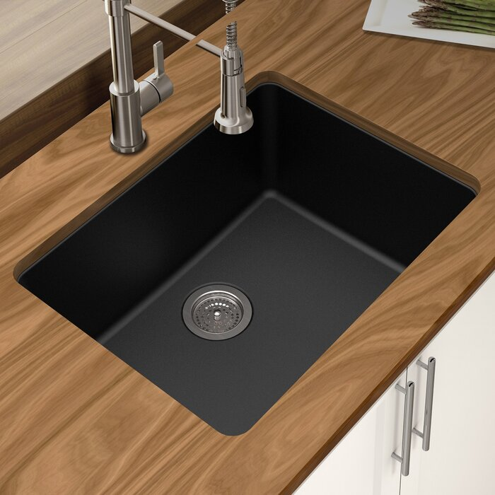 Granite Quartz 25 L X 18 5 W Single Bowl Undermount Kitchen Sink