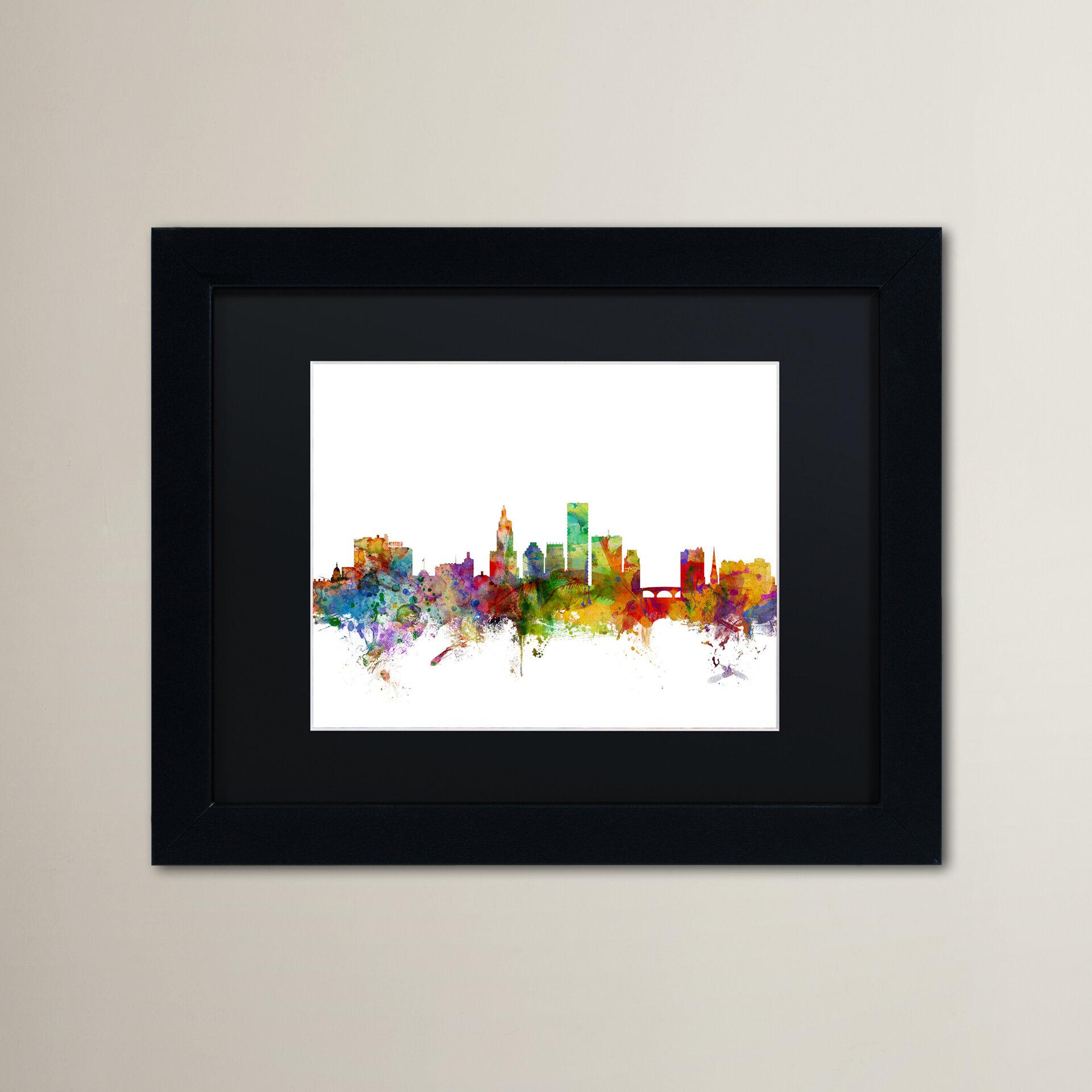 Ivy Bronx Providence Rhode Island Skyline Framed Graphic Art Wayfair