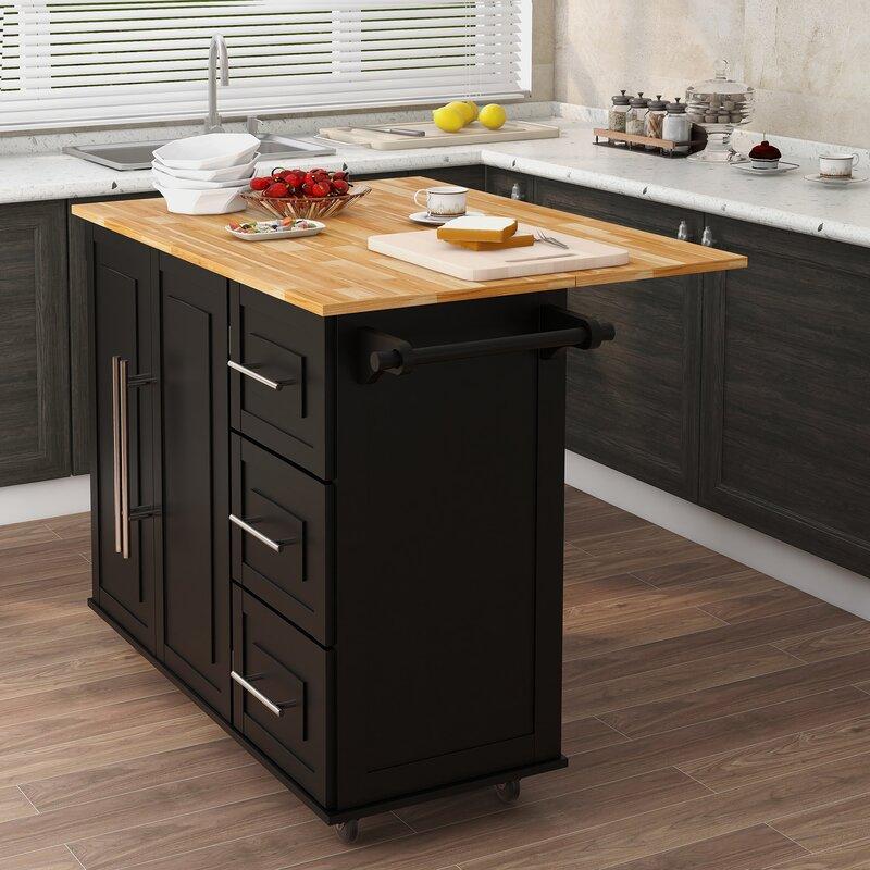 Red Barrel Studio Borivoj Rubber Wood Folding Table Top Kitchen Island With Wheels White Wayfair