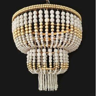 Small wood bead chandelier wayfair pinette bead wood 3 light novelty chandelier aloadofball Image collections