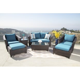 Lemanski 7 Piece Rattan Sunbrella Conversation Set with Cushions
