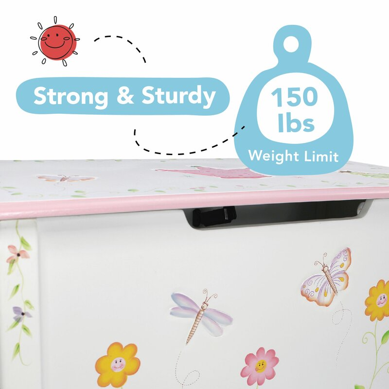 Baby Pink Text Children/'s White Toy Box personalised With soft close safe hinge