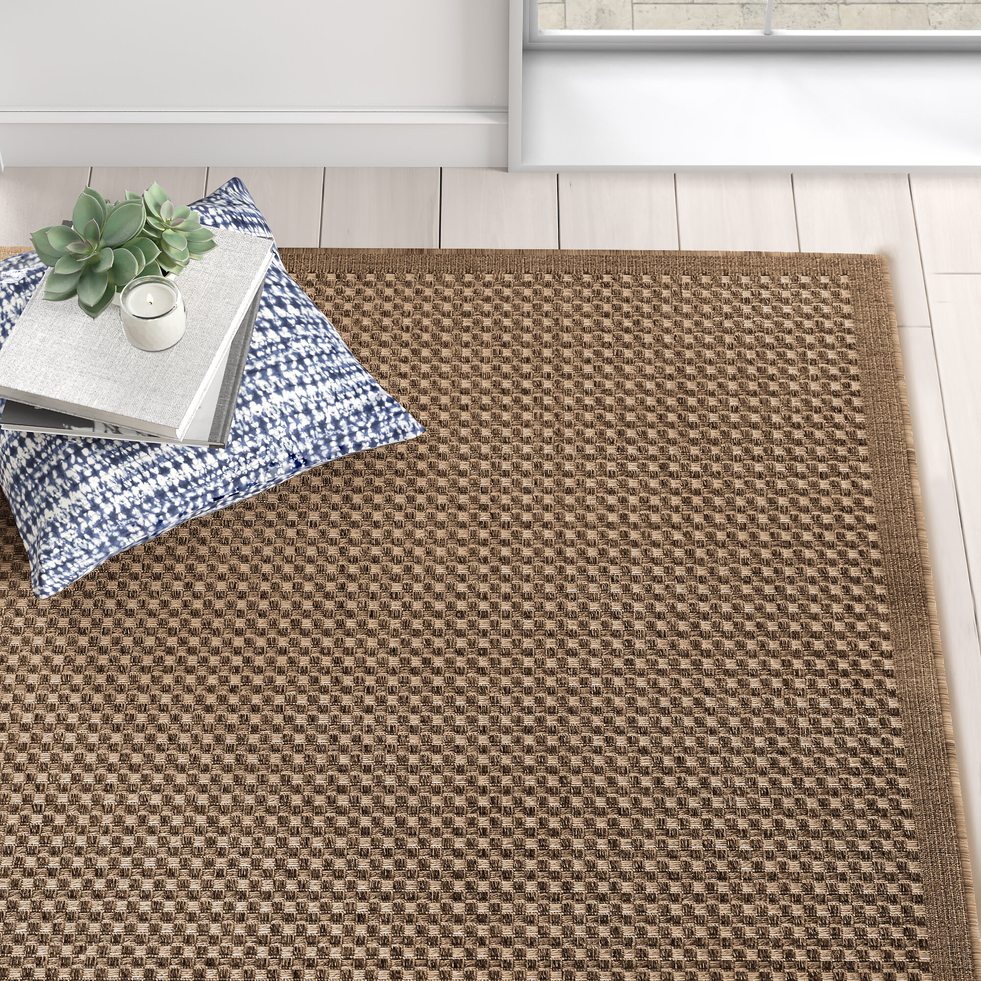 Rhiannon Light Tan Brown Patchwork Natural Indoor Outdoor Area Rug Reviews