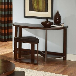 Alcott Hill Blanco Half Moon Wooden Console Table and Stool Set