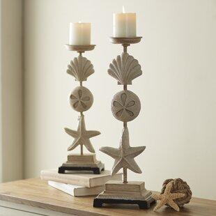 2 Piece Stone Candlestick Set