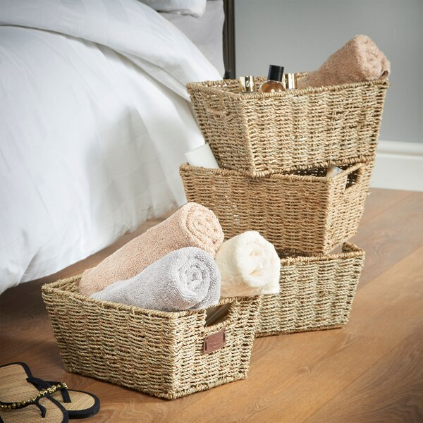 Four Seasons White Wicker Open Top Basket With Handles And