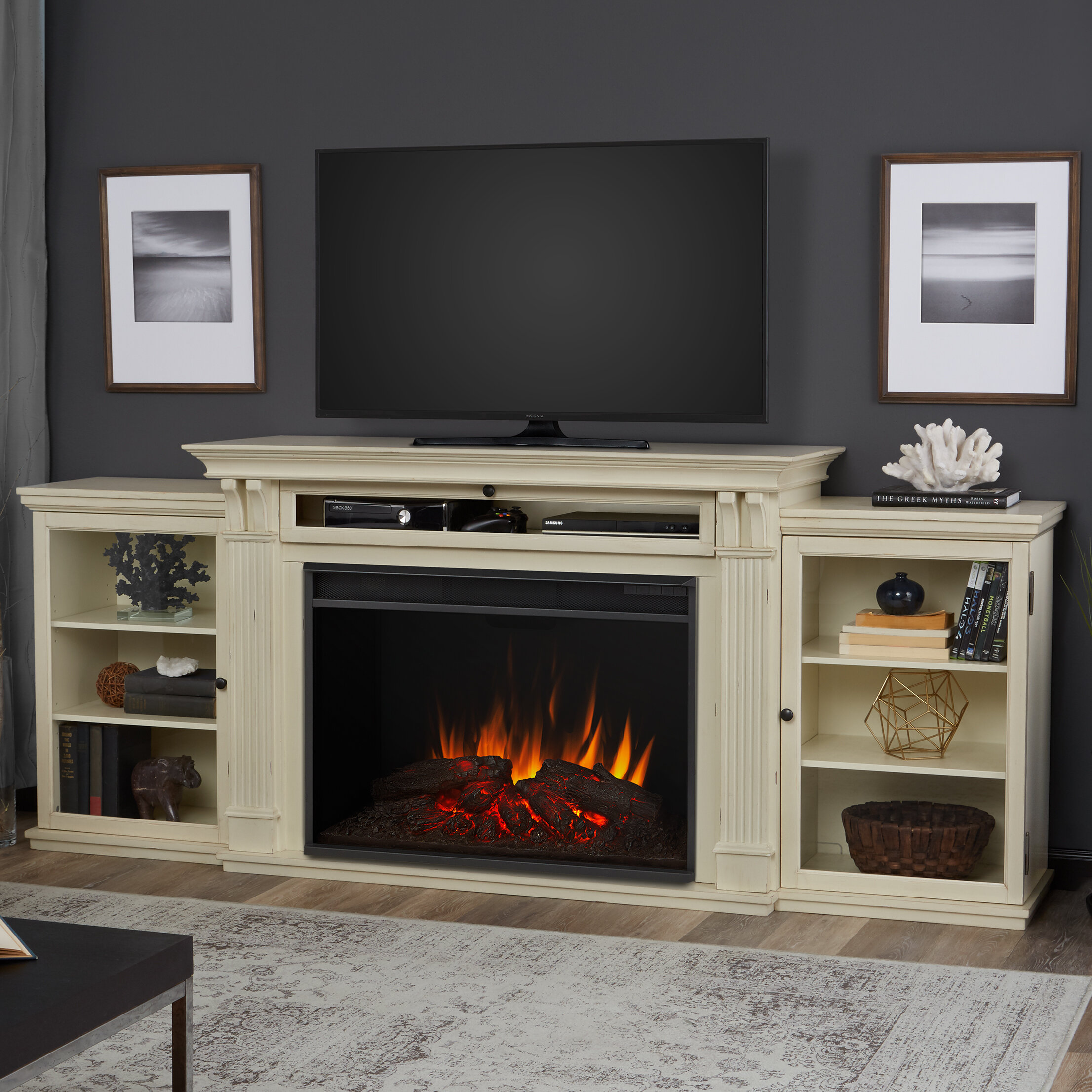 Real Flame Grand Tracey Tv Stand For Tvs Up To 84 With Fireplace