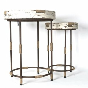 Dornley Wood/Metal 2 Piece Round Serving End Table Set by 17 Stories