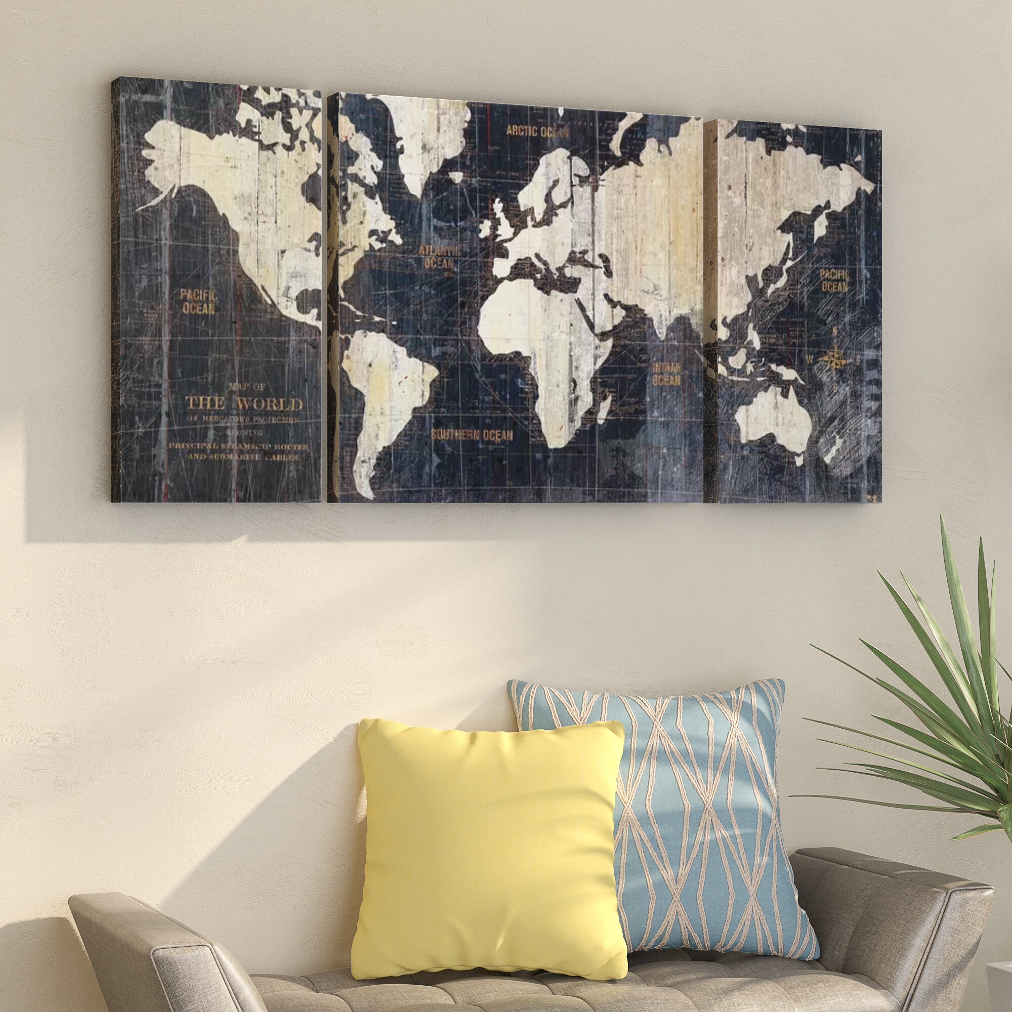 \'Old World Map Blue\' Framed Graphic Art Print on Wrapped Canvas