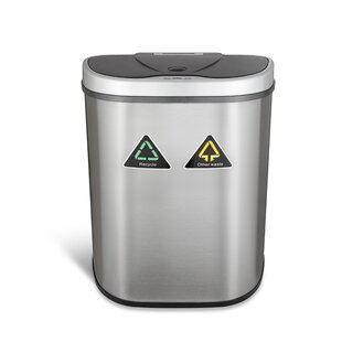 Nine Stars Steel 18.5 Gallon Motion Sensor Multi-Compartments Trash & Recycling Bin
