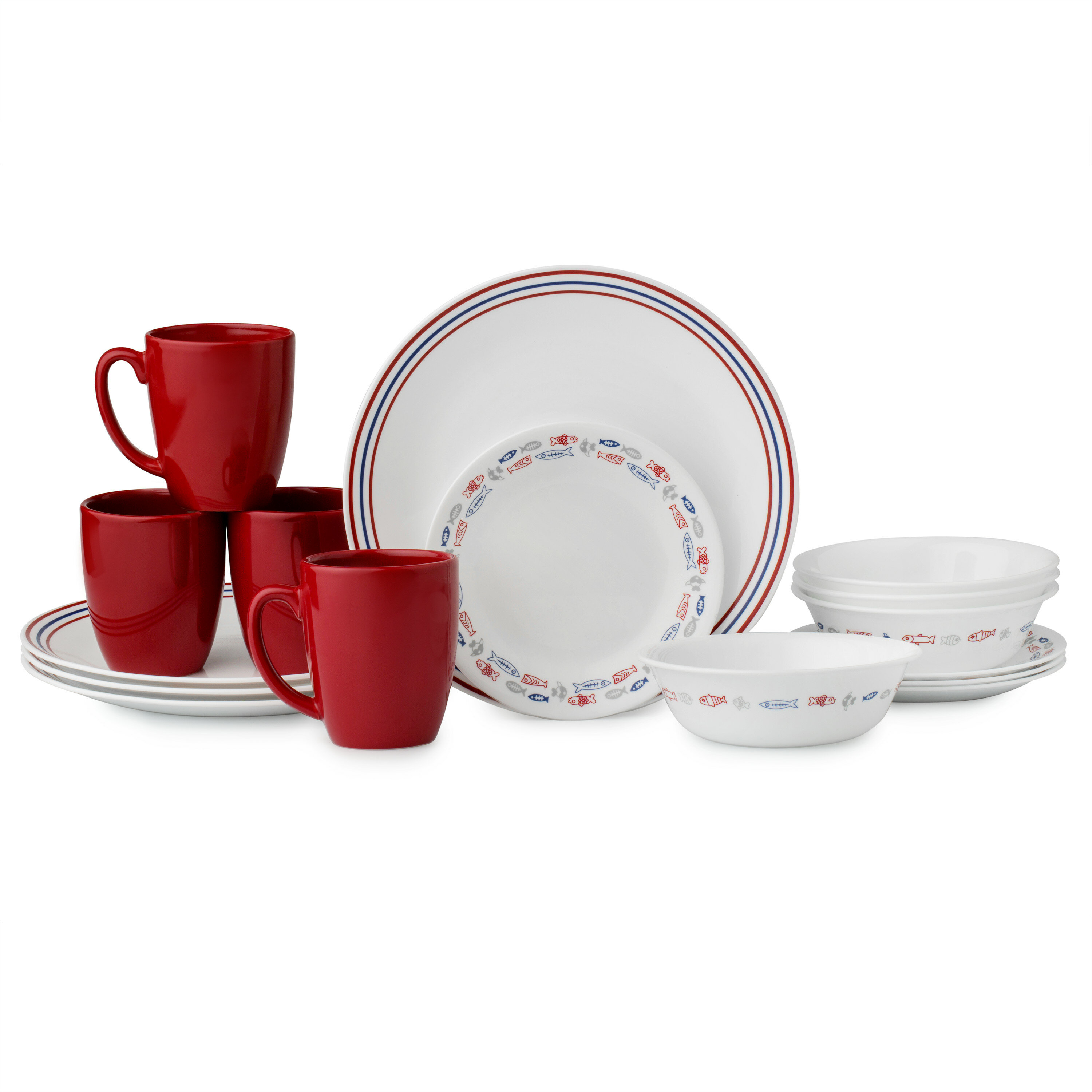 16 Pieces Dinner Set Melamine Plates Bowls Cups Fishing Outdoor Camping Crockery