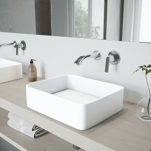 Jasmine Stone Rectangular Vessel Bathroom Sink with Faucet VIGO
