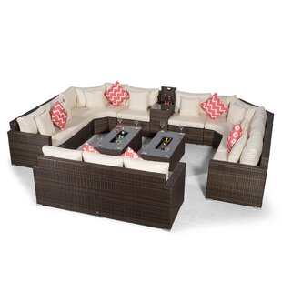 Villasenor Brown Rattan 8 Seat Sofa With 2 X Rectangle Ice Bucket Coffee Table & 3 Seat Sofa + Drinks Cooler, Outdoor Patio Garden Furniture By Sol 72 Outdoor