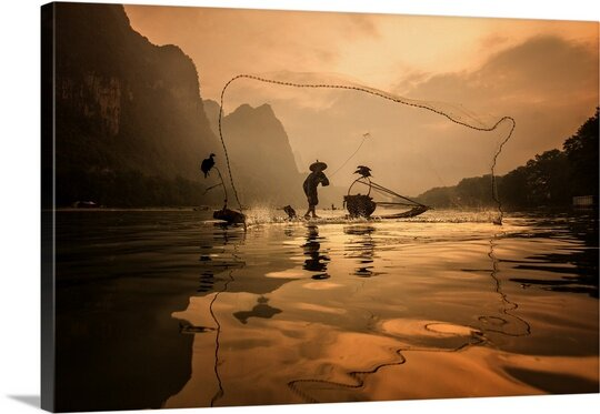 Spread the Fish Nets by Gunarto Song Photographic Print on Canvas