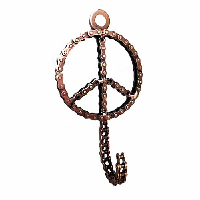 Bicycle Chain Peace Sign Hook Wall Décor