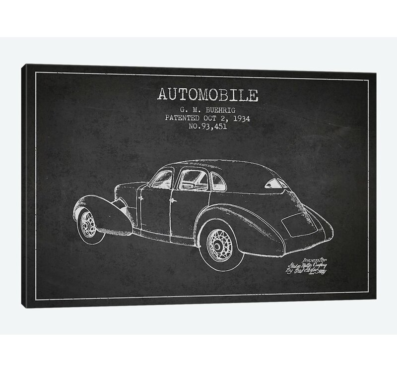 East Urban Home Charcoal G M Buehrig Cord Automobile I Graphic Art Print On Canvas In Gray