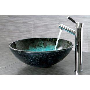 Kingston Brass Fauceture Glass Circular Vessel Bathroom Sink
