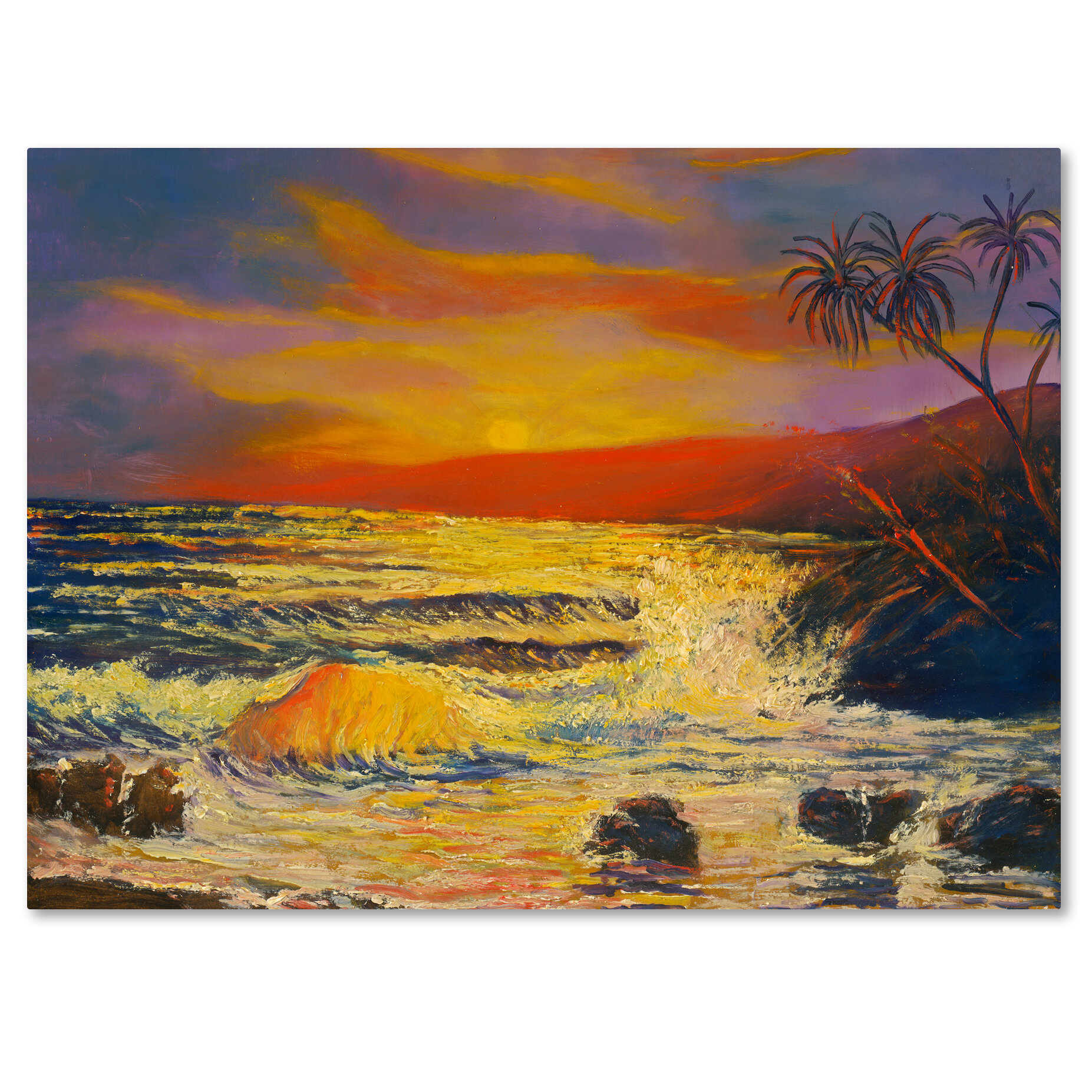 Trademark Art Maui Sunset Painting Print On Wrapped Canvas Wayfair