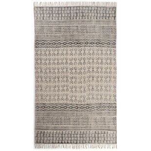 Astin Faded Hand Knotted Cotton Black/Beige Area Rug By Foundry Select
