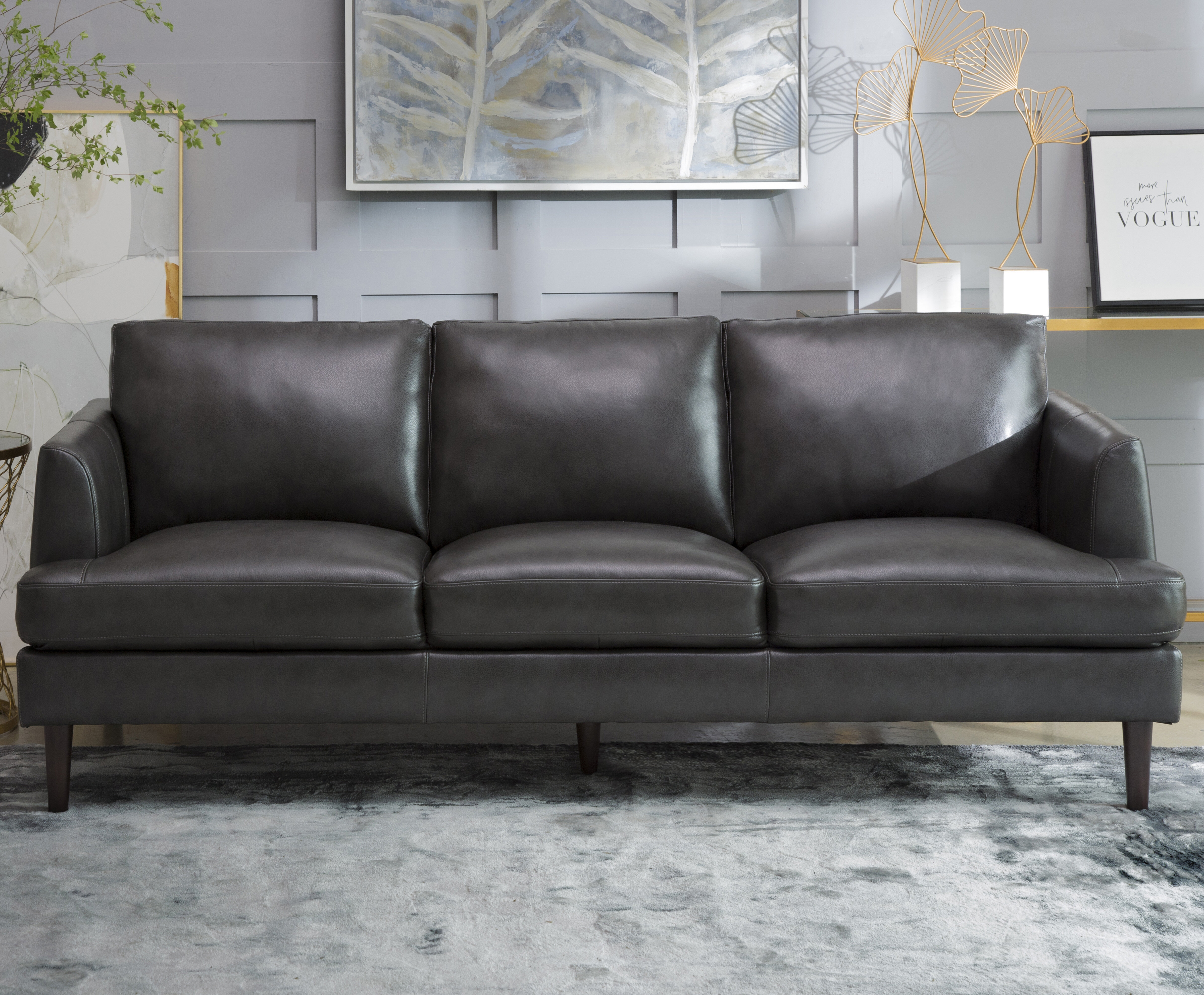Latitude Run Awaah Genuine Leather 83 46 Recessed Arm Sofa Wayfair