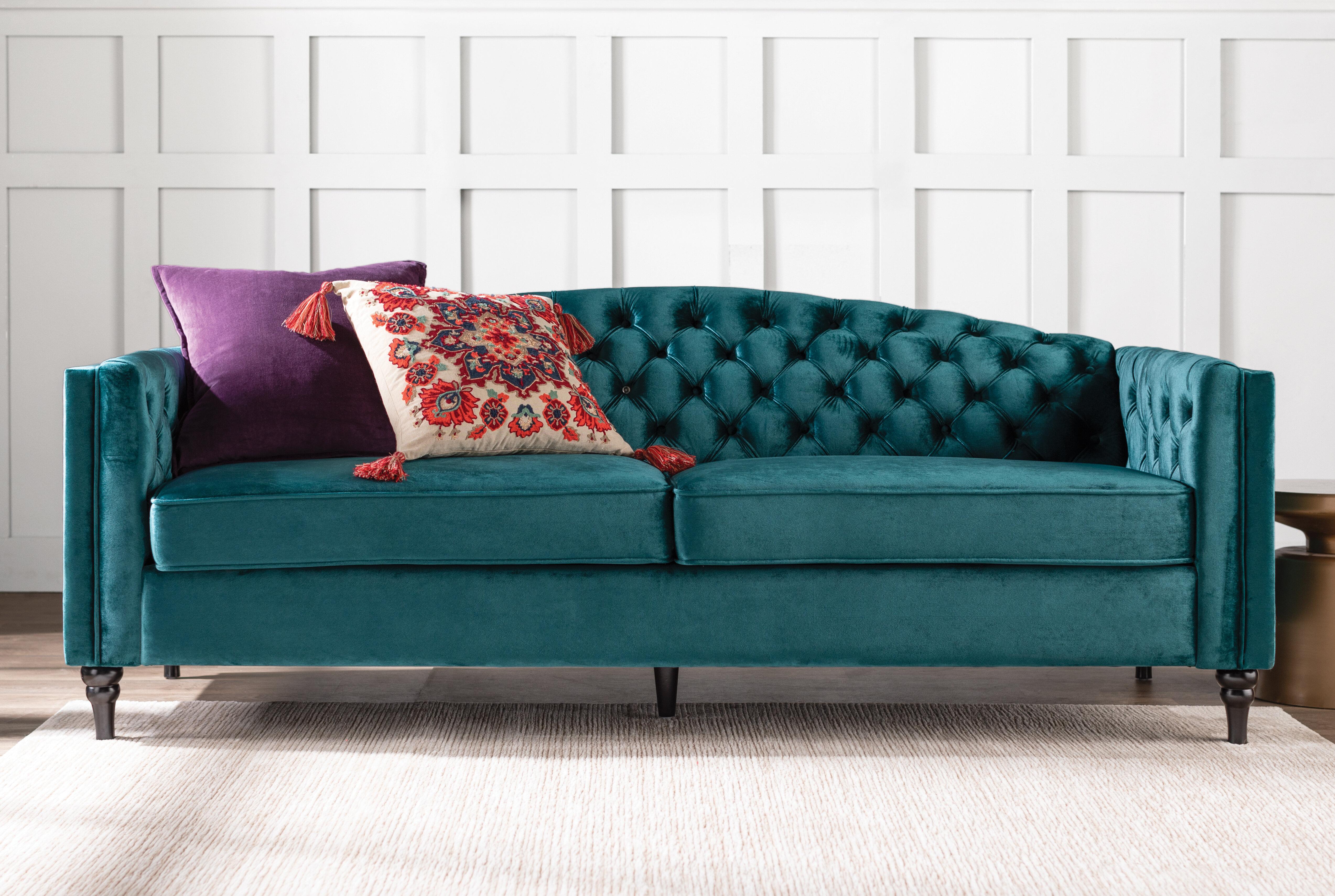 House Of Hampton Riggs 84 Wide Fabric Velvet Square Arm Sofa Reviews Wayfair