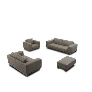 4 Piece Leather Living Room Set by David Divani Designs