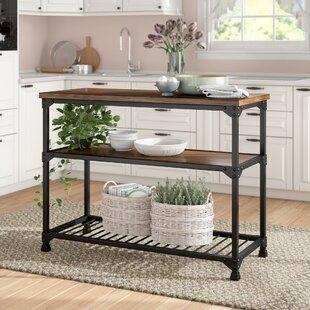 Narrow kitchen prep table wayfair delesha multifunction prep table with wood top watchthetrailerfo