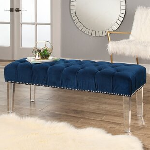 Mercer41 Keppler Velvet and Lucite Wood Bench