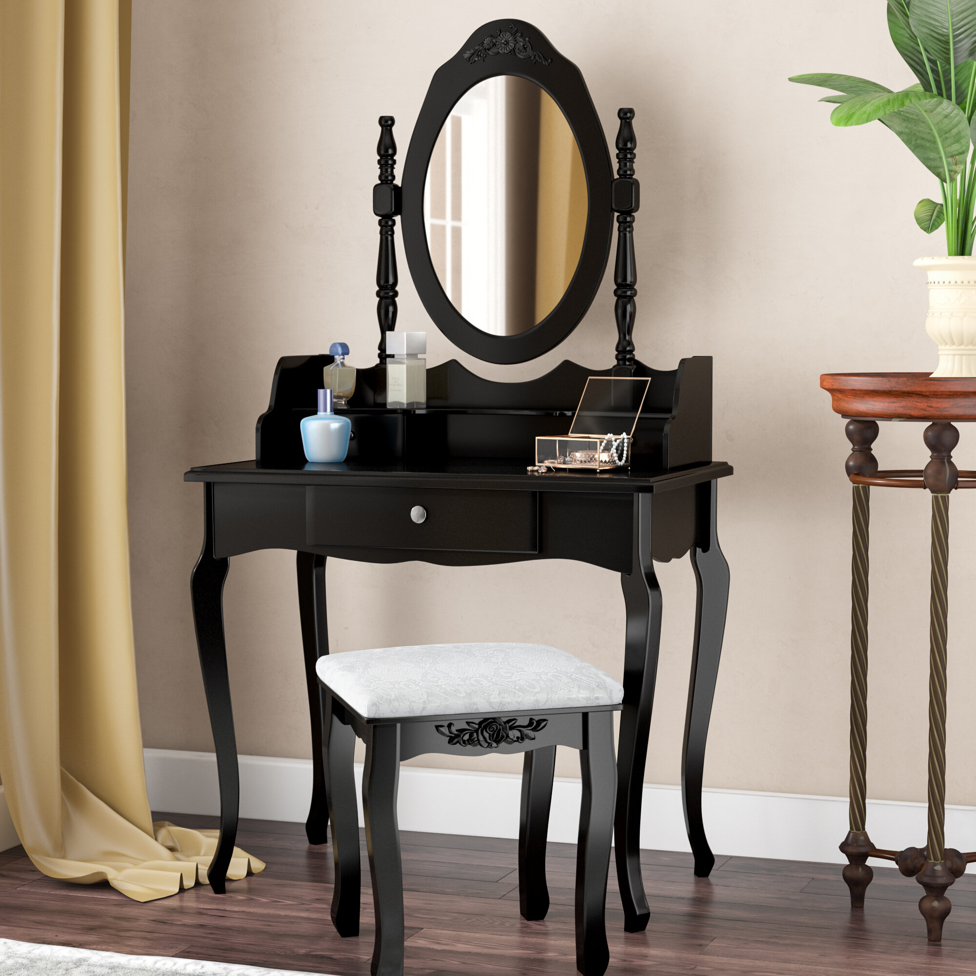 Astoria Grand Wilmette Vintage Makeup Vanity Set With Mirror Reviews Wayfair