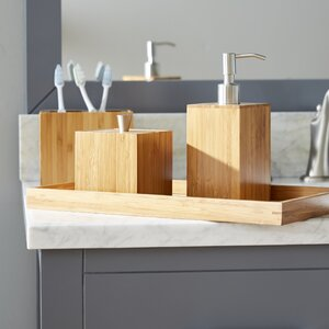 Defoe Bamboo 5-Piece Bathroom Accessory Set