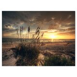 Grassy and Beach Sunset - Wrapped Canvas Photograph Print