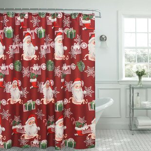 Ho Ho Santa Textured Single Shower Curtain by The Holiday Aisle Best #1