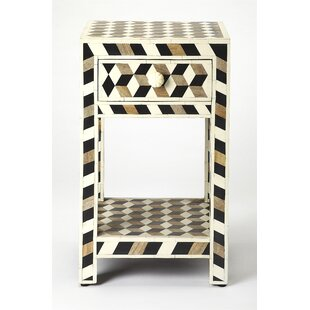 Acosta Wood and Bone Inlay End Table